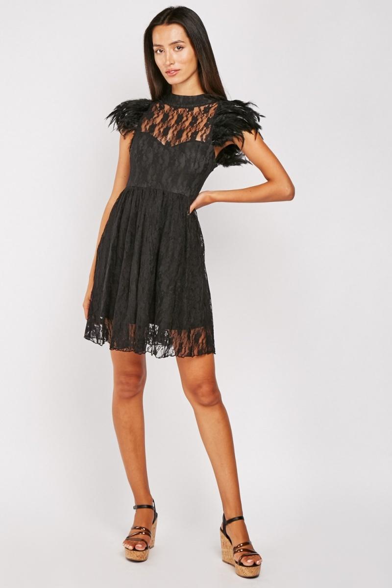 Feather Trim Lace Dress Everything5pounds Lace Dress Dresses Lace Dress Black [ 1200 x 800 Pixel ]