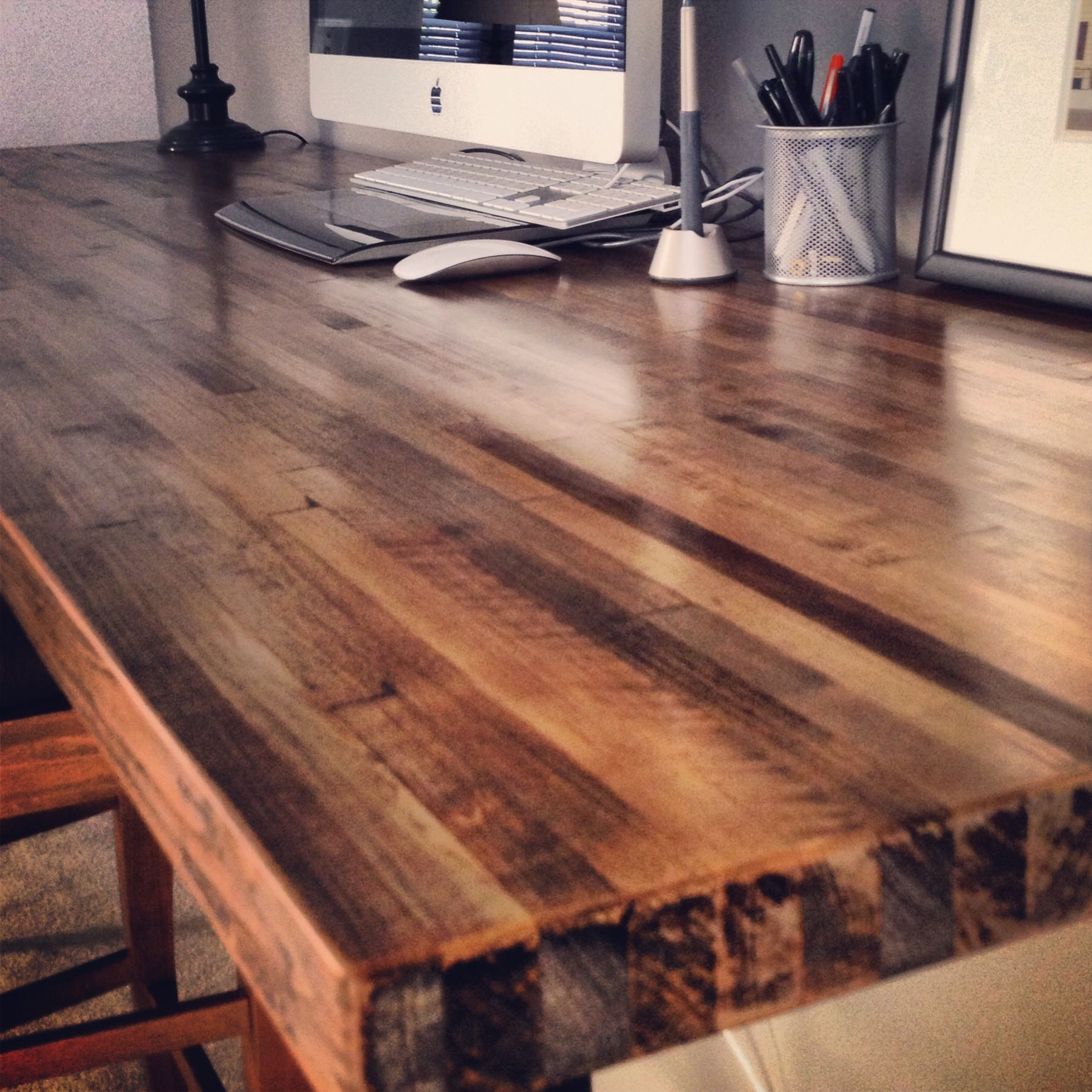 7ft x 2ft butcher block desktop. 2 coats of minwax stain ...