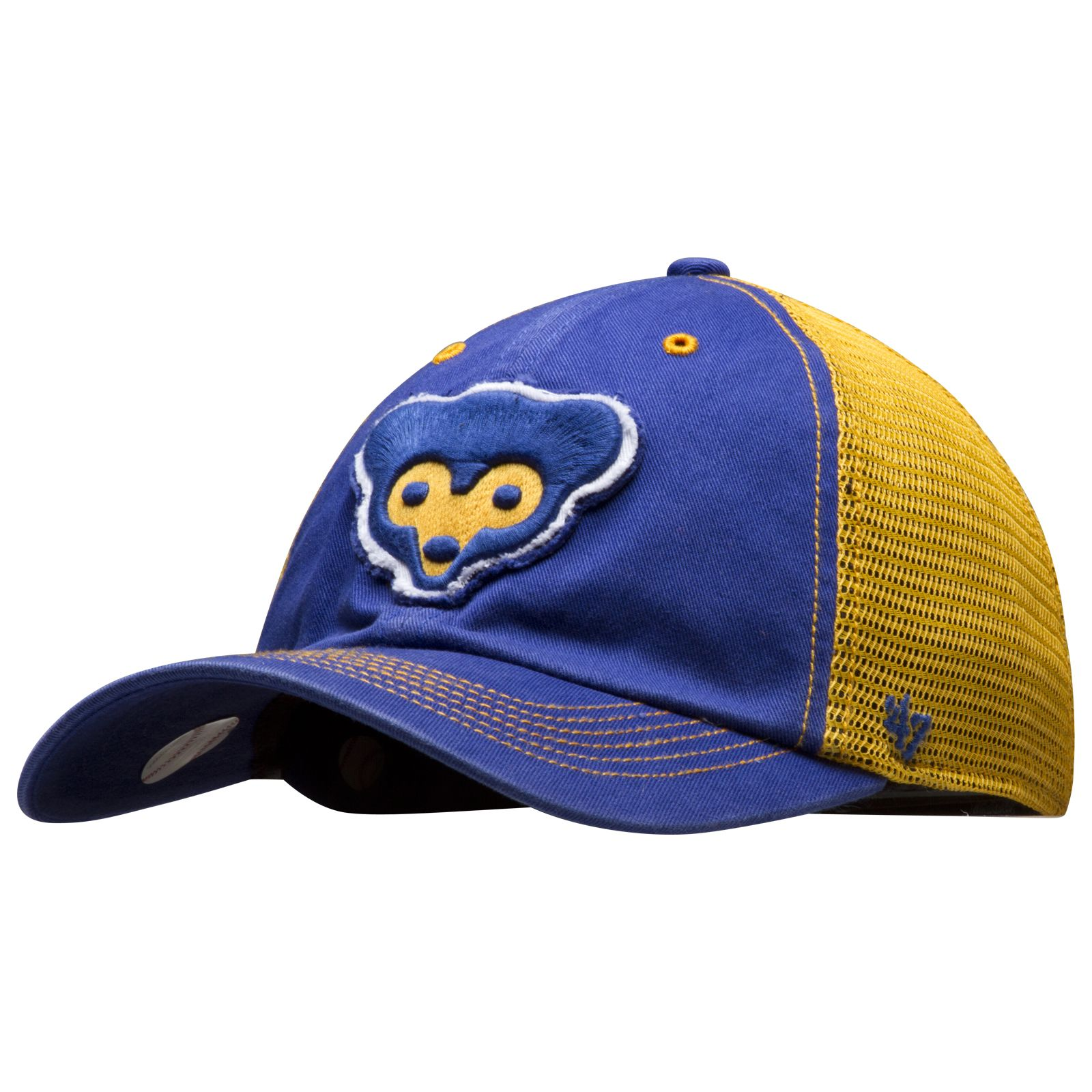 Chicago Cubs Royal and Gold 1969 Cub Face Logo Mesh Back Fitted Hat by 47  Brand  Chicago  Cubs  ChicagoCubs 22d8b4eb3898
