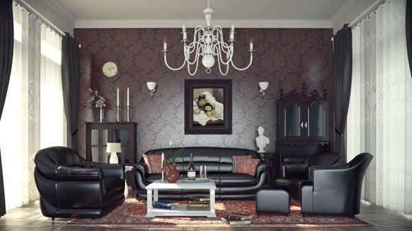 nice moderne tapeten wohnzimmer wandgestaltung schwarze ledersofas