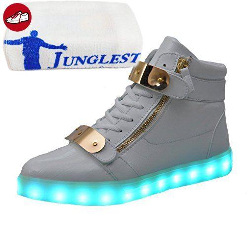 (Present:kleines Handtuch)Weiß EU 42, Sport Unisex Farbe LED 7 Aufladen High-top Sneaker Hoch mode Schuhe Turnschuhe Herren für Damen Leuc