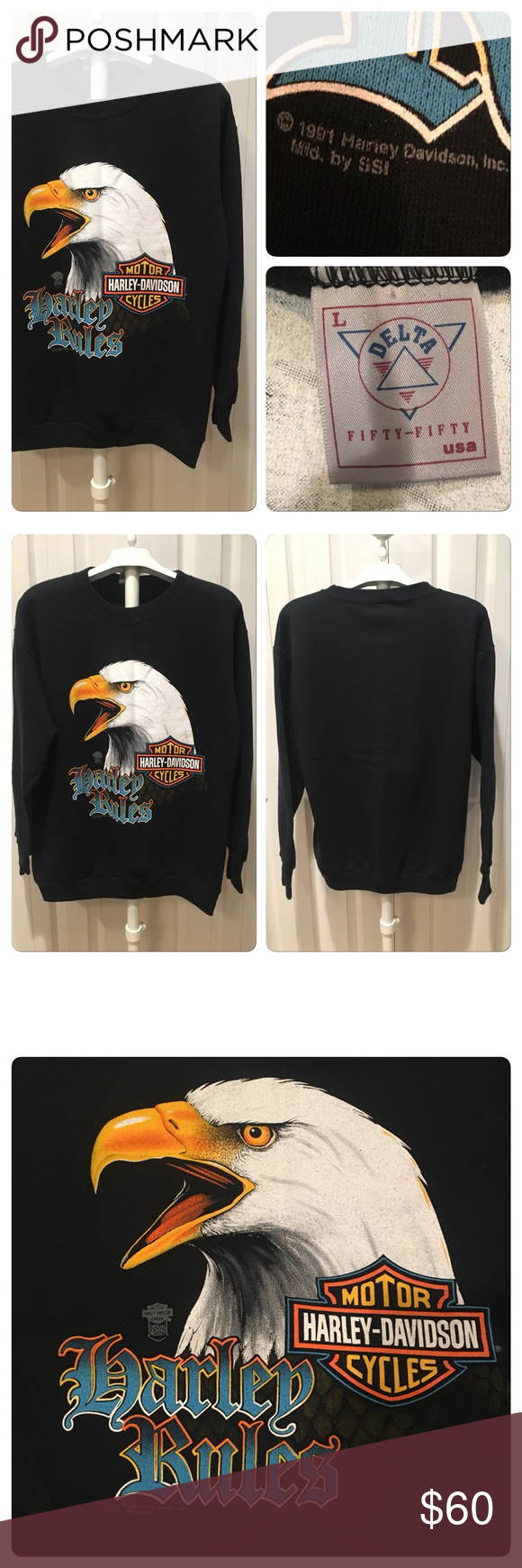 Vintage 1991 Harley Eagle sweatshirt Vintage 1991 Harley Davidson Sweatshirt  in Black Printed on a Delta a793b5e08