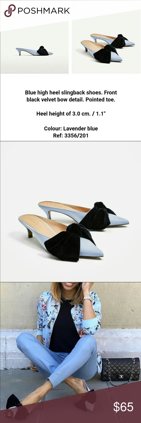 Zara Light Blue Kitten Heel Mules With Bow Heeled Mules Kitten Heels Zara