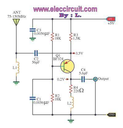 Wide Band High Frequency Amplifier Eleccircuit Com Petunjuk