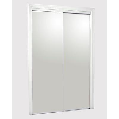 kingstar 72 x 80 steel white frameless bottom roll sliding mirror