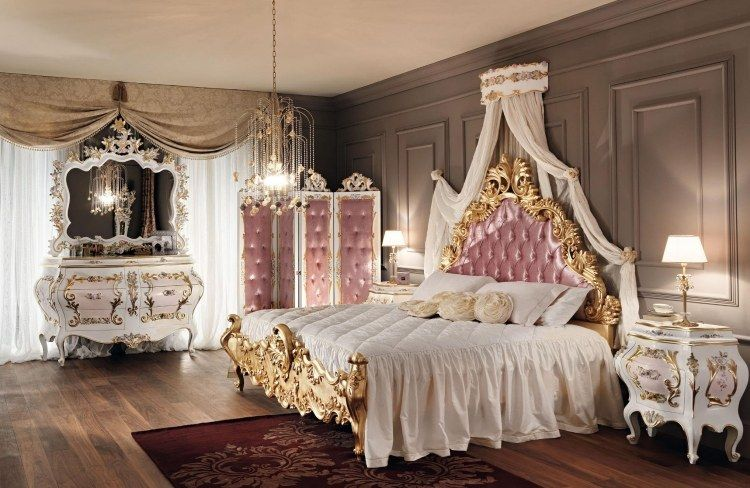 reichlich ornamentiertes bett mit betthimmel schlafzimmer in 2019. Black Bedroom Furniture Sets. Home Design Ideas