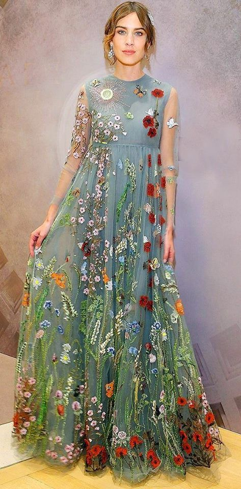 Embroiderers Guild of Victoria. Wildflower embroidered dress.