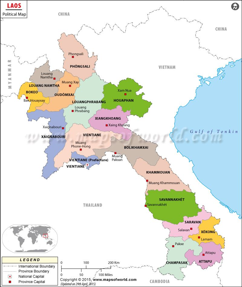 Political Map Of Laos Maps Globes Pinterest - World map and their capitals