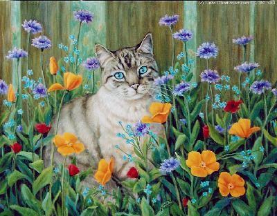 Cat in Flowers by Linda Elliott