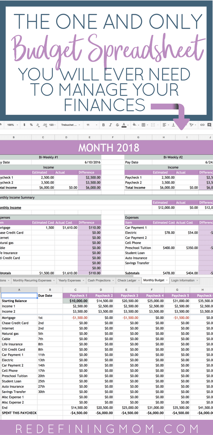 easy family budget spreadsheet