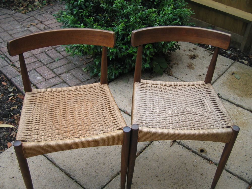 Details about Danish Teak and Cord Dining Chairs Dining