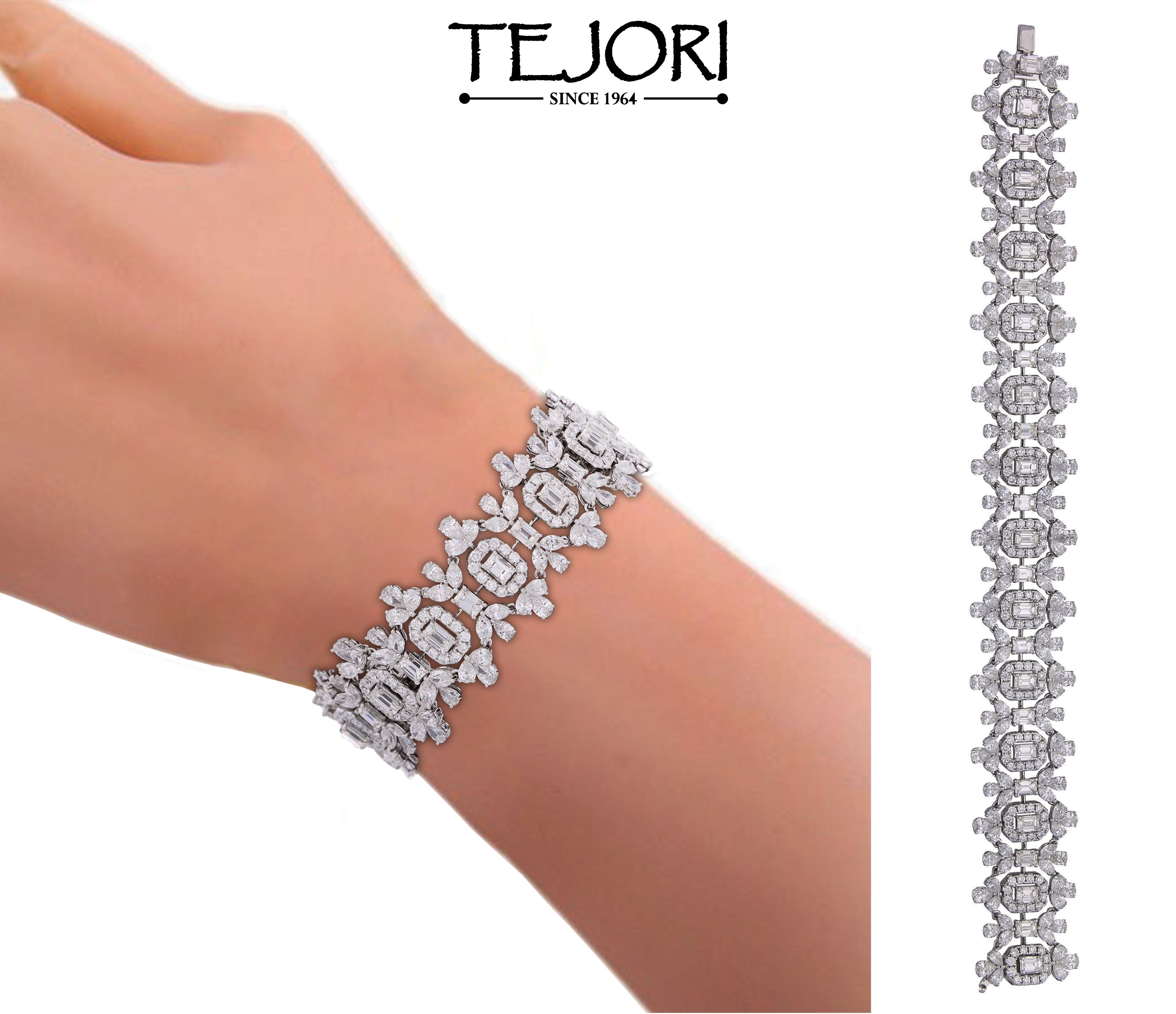 Bracelet made of white gold with round marquise and baguette
