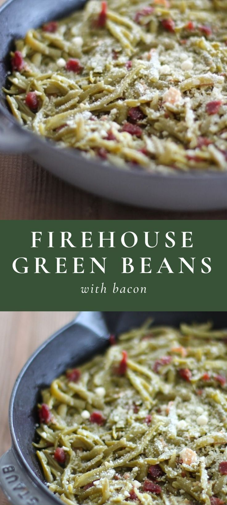 Firehouse Greenbeans with Bacon #greenbean Step aside green bean casserole, Firehouse Green Beans with Bacon are an easy, last-minute side dish for holidays with the best blend of garlic, parmesan and bacon that will have green bean haters begging for the recipe! #greenbeans #bacon #firehousegreenbeans #sidedish #vegetable #greenveggie #greenbeancasserole