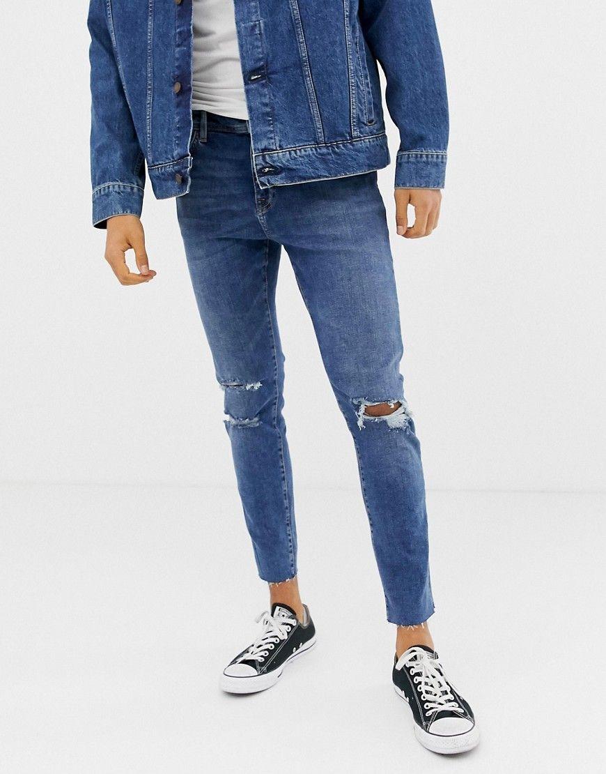 8f5d90d71a31 Herren Bershka Join Life Schmale Jeans in Mittelblau   0532721142842  mode   herrenmode  modefürherren