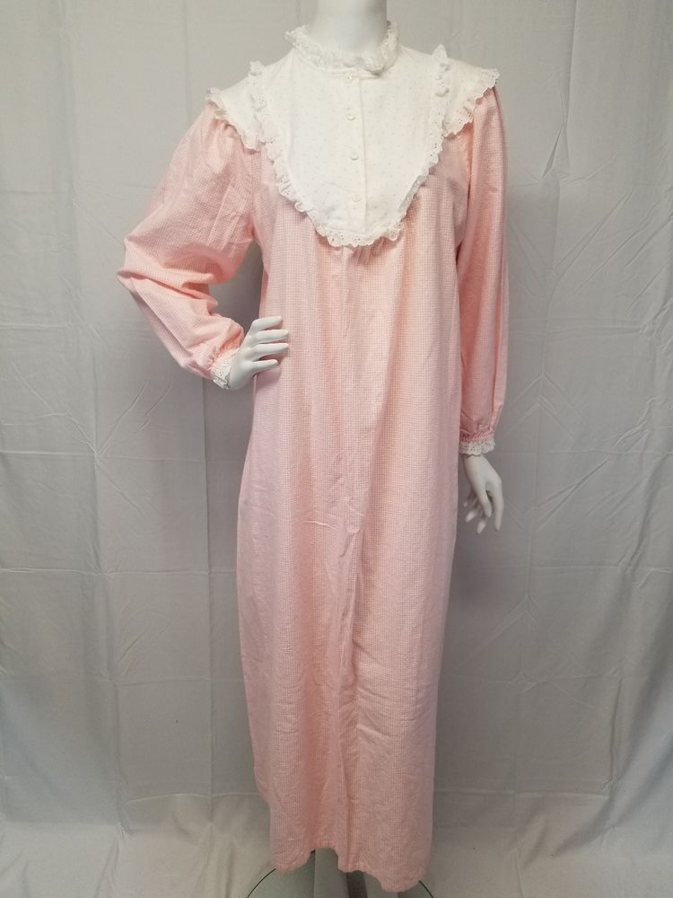 Vtg LANZ OF SALZBURG Pink Hearts Gingham Flannel Cotton Granny Gown ...