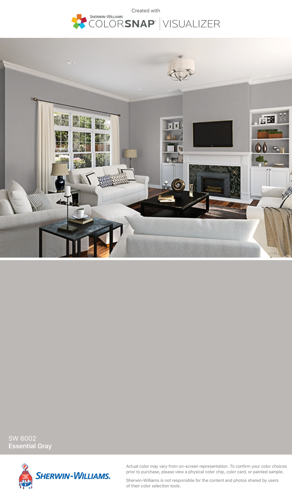 I Found This Color With Colorsnap Visualizer For Iphone By Sherwin Williams Essential Gray Sw
