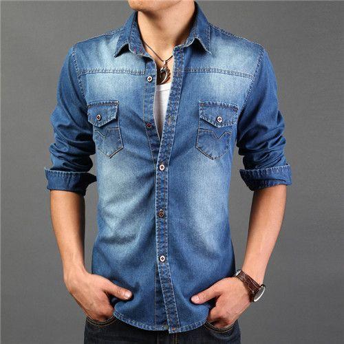 2017 High Quality Long Sleeve Denim Shirts Men Casual Shirt ...