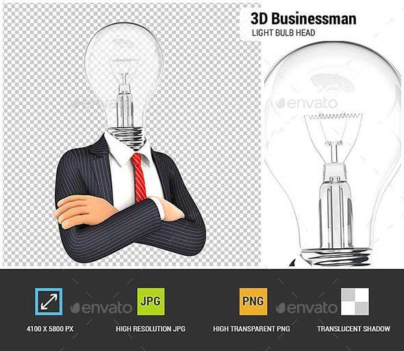 3D Businessman With Light Bulb Head
