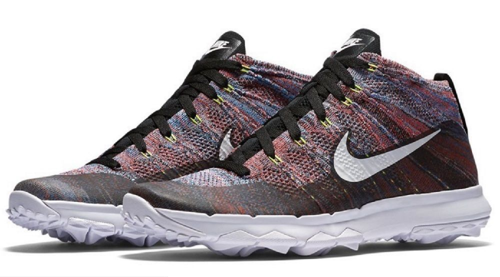 Nike Men's Flyknit Chukka Golf Shoes 819009 002 Multi Color