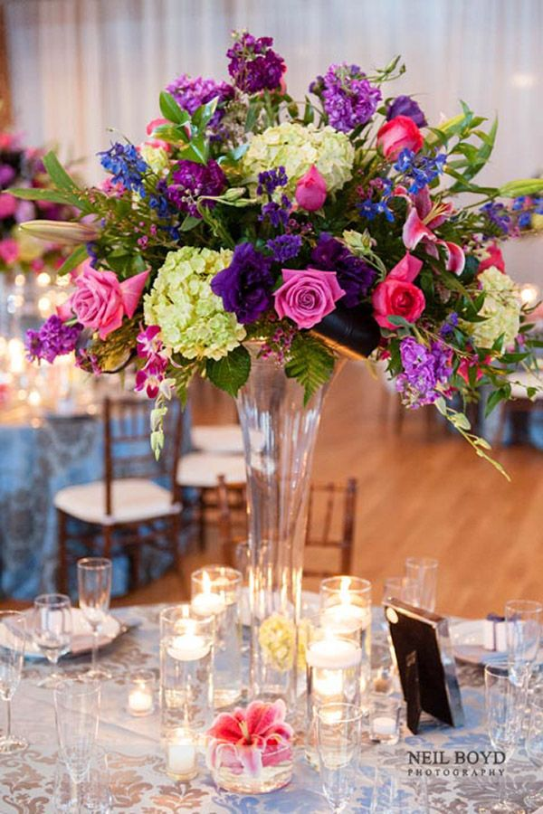 Tall floral centerpiece arrangement for wedding reception