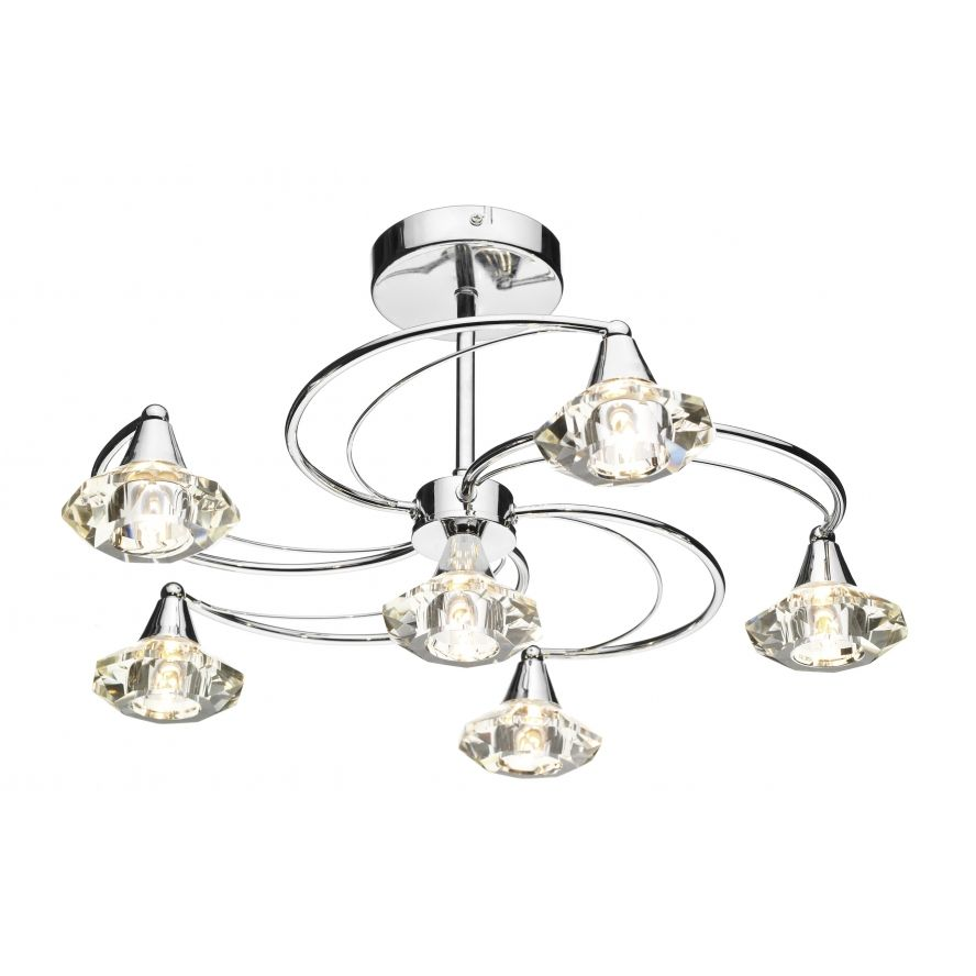 Dar Luther 6 Light Semi Flush Complete With Crystal Glass Polished Chrome
