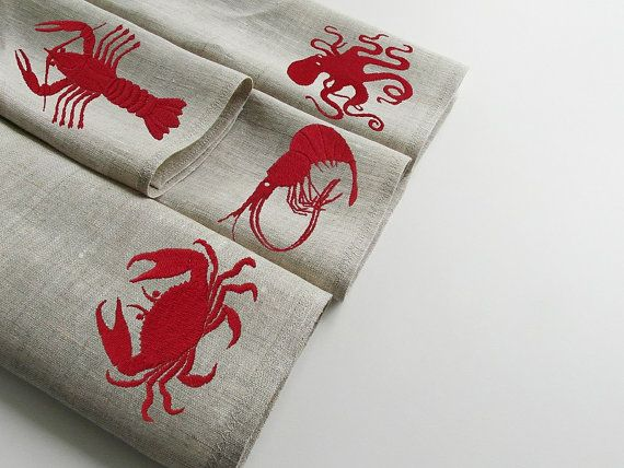 lobster napkins,lobster decor,cloth napkins, linen napkins