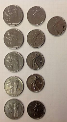 Lotto Monete Repubblica Italiana Lire 100 50 1977 1978 1979 1961