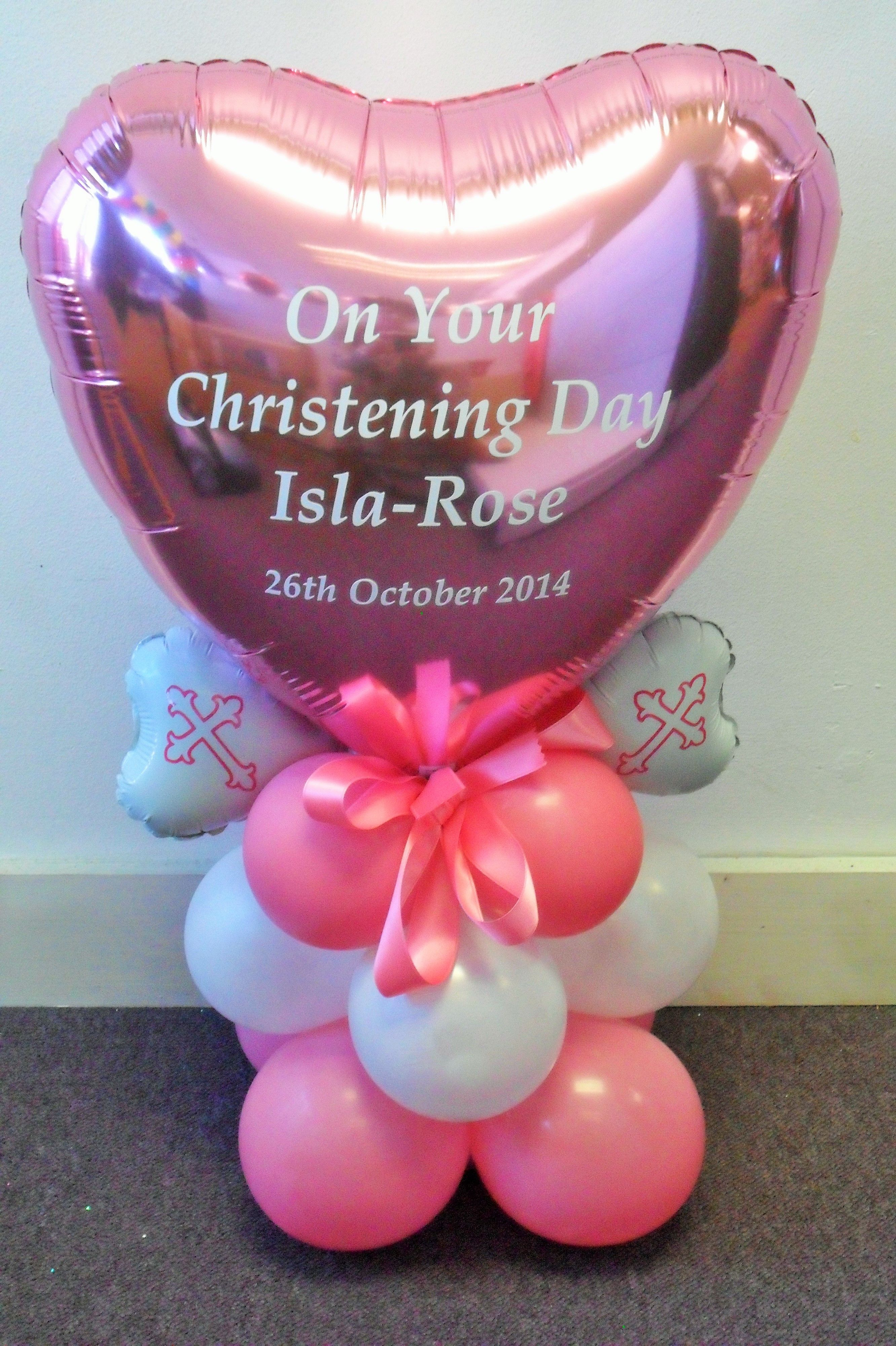 Christening day personalised centrepiece balloon