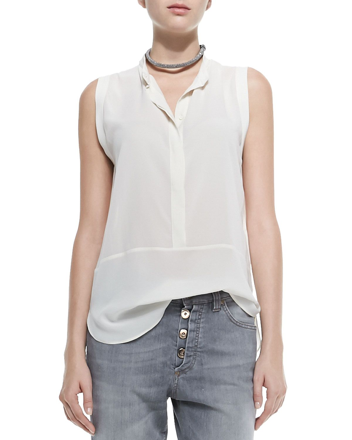 Cotton and silk top Brunello Cucinelli