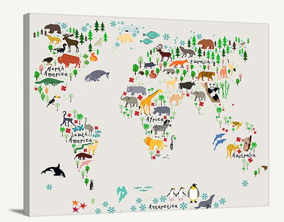Canvas Large Wall Art   Animal World Map For Kids Room   Nursery World Map  Print