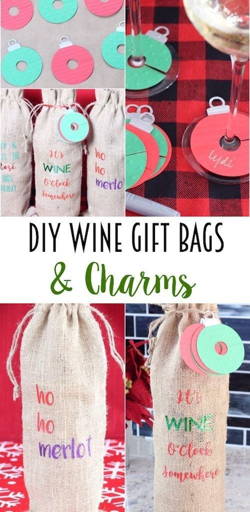 These DIY Wine Gift Bags and Wine Charms are so fun! Perfect for a holiday or hostess gift!