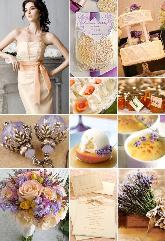 Peach And Lavender Weddings Color Board
