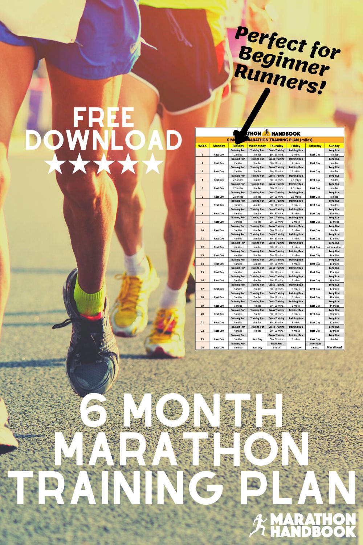 6 Month Marathon Training Plan Marathon Handbook In 2020 Marathon Training Marathon Training Plan Marathon Training Plan Beginner