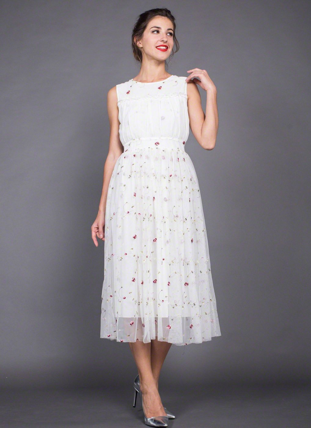 White embroidered floral tulle lace midi dress with pleated top in