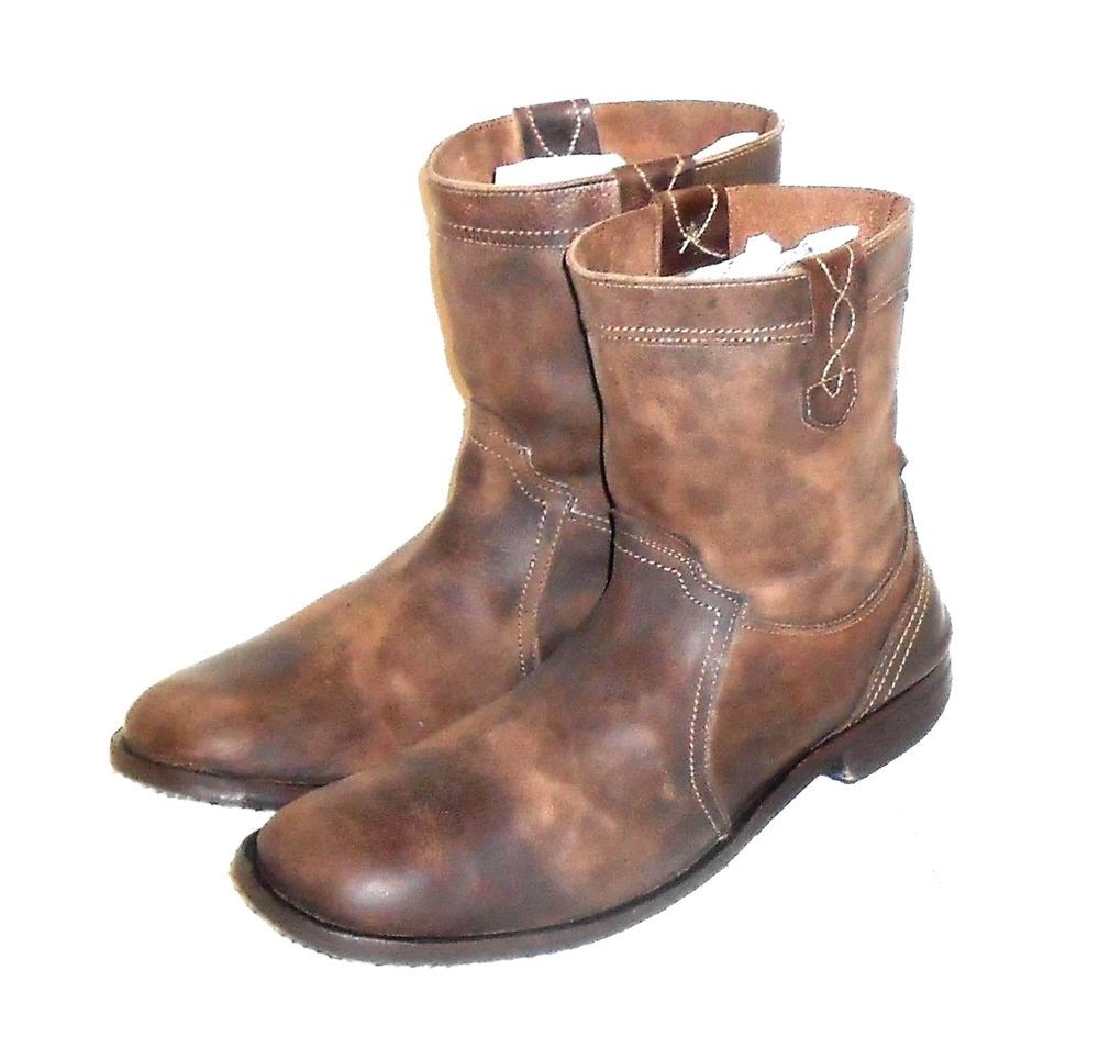 Bull Boxer Men S Distressed Brown Leather Pull On Boots Made In Portugal Size 12 Boots Pull On Boots Mens Boxers