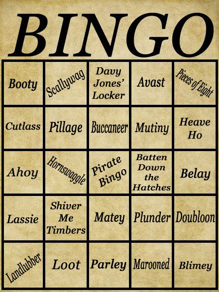 Pirate Bingo Cards The Perfect Addition To Any Themed Party These Were Created By Me For My Sons 4th Birthday And Can Also Be Purchased