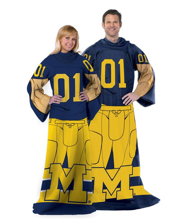 Logo Michigan Wolverines NCAA 54 X 84 Fleece Sweatshirt Blanket Team Color,