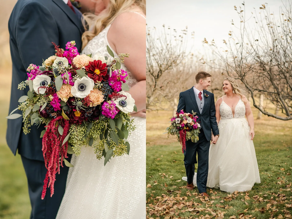 Early Winter Wedding Magenta Peach And Navy Bouquet In 2020 Wedding Bridal Bouquets Winter Wedding Wedding