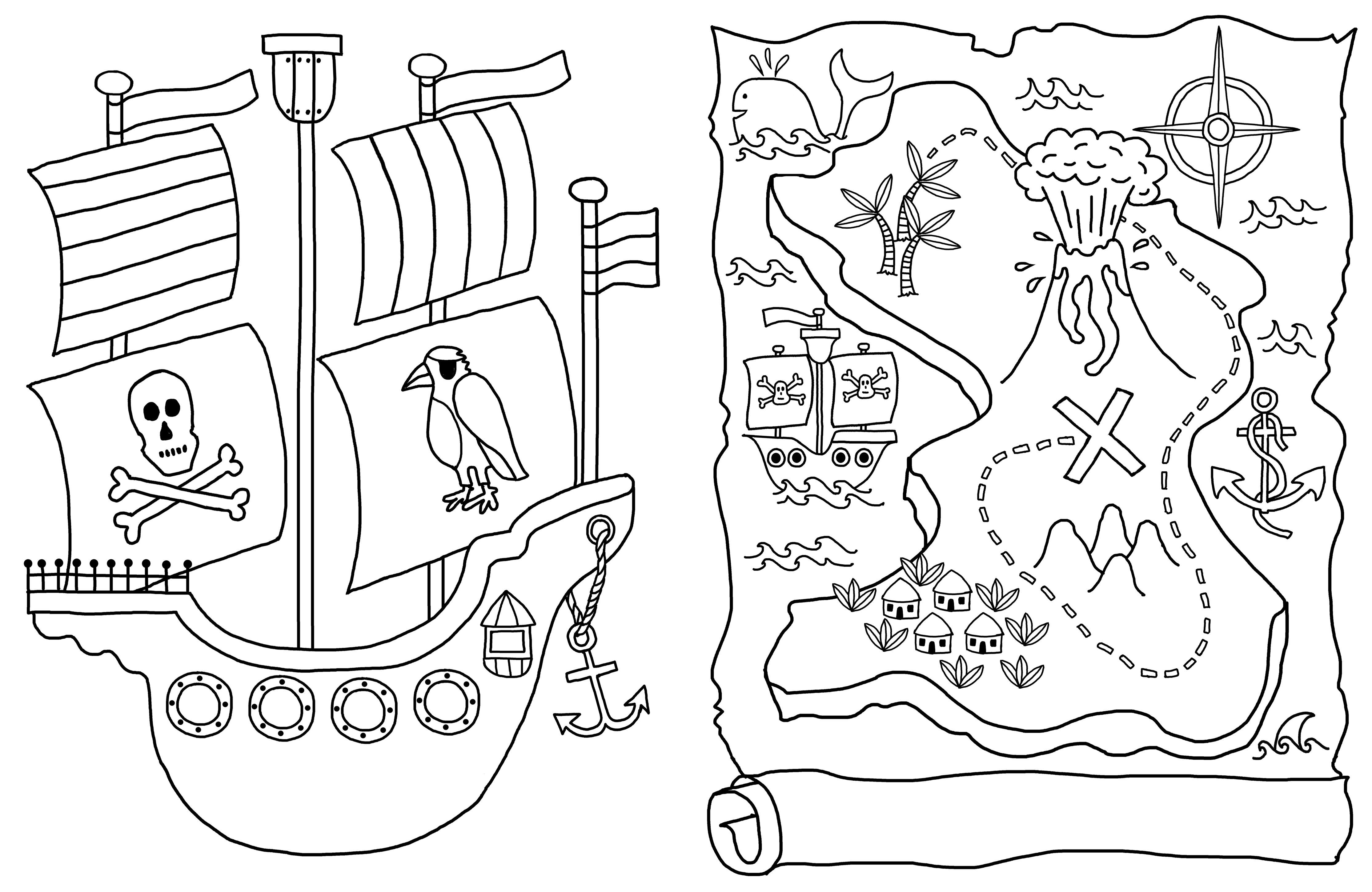 Pirate Ships And Treasure Maps In The Amazing Boys Colouring Book Coloring Books Treasure Maps Crafts For Kids
