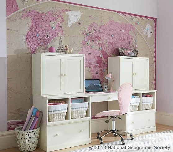 National geographic pink world map mural pottery barn kids national geographic pink world map mural pottery barn kids gumiabroncs Gallery