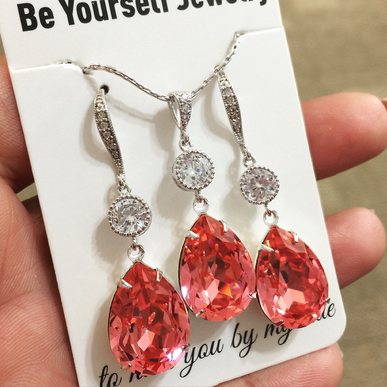 Coral Bridal Earrings Pink Peach Bride Necklace Swarovski Crystal ...