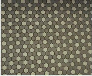 The floor is a traditional hexagon mosaic rosette pattern using gray/mauve and cream-colored tiles.  Consider simple Satinglo Hex Tiles from American Olean