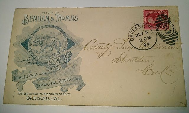 1894 Benham & Thomas Postcard, Oakland with Grizzly Bear | Bear Flag Museum