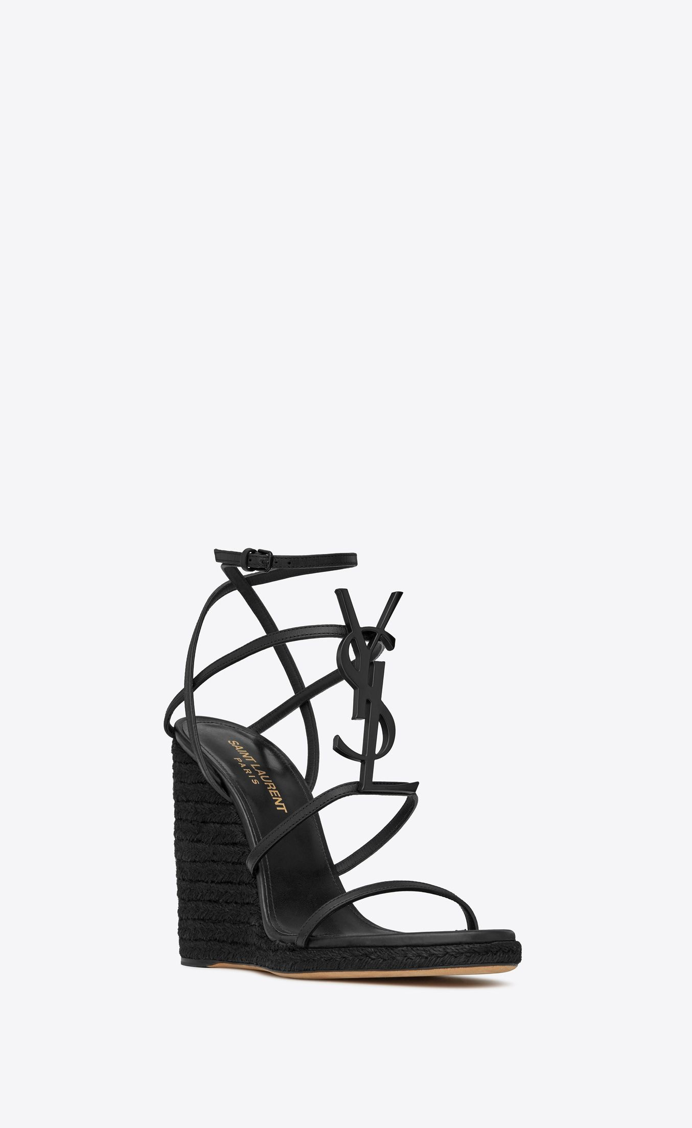 e05696c35c CASSANDRA Wedge espadrilles with black logo in leather in 2019 ...