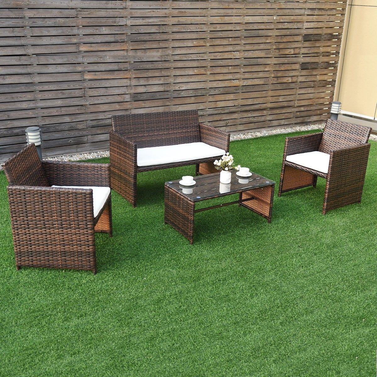 4 Pc Rattan Patio Furniture Set Garden