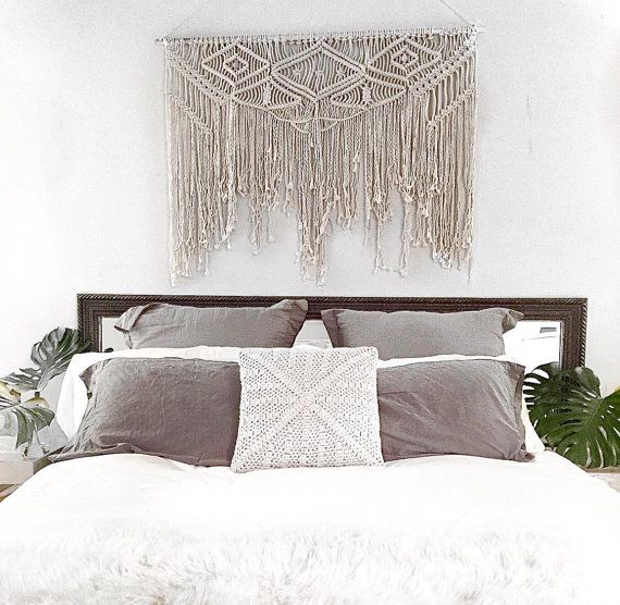 Large 100 natural cotton macram wall hanging measures - Over the bed wall art ...