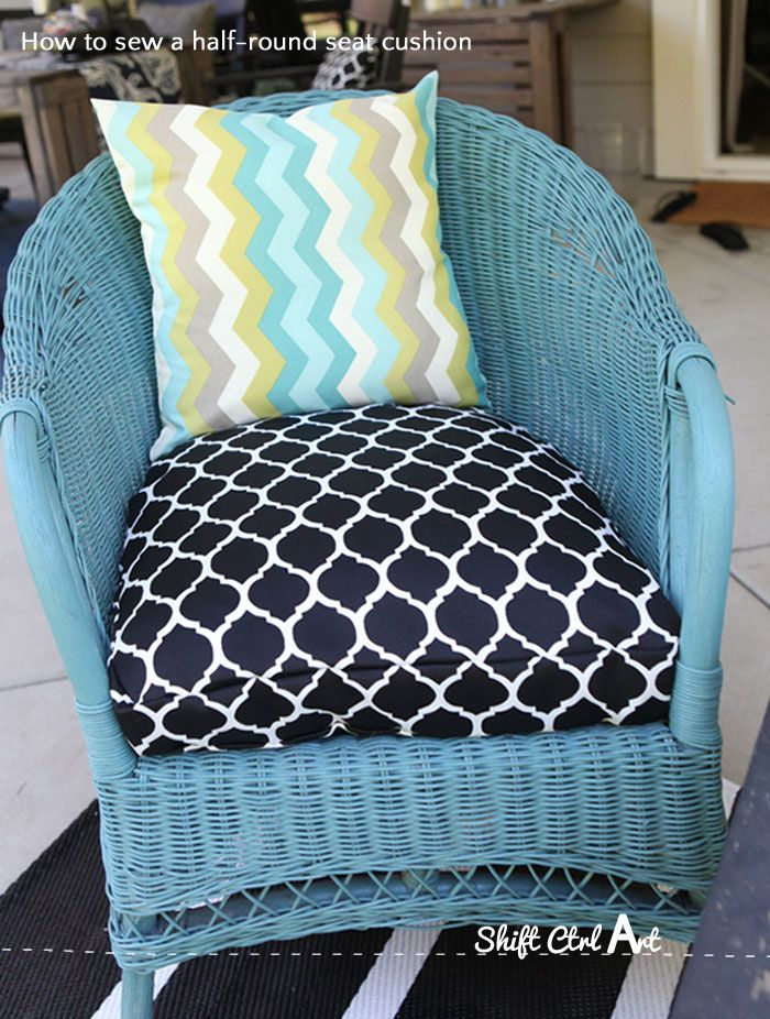 How to: sew a half-round seat cushion cover - for my outdoor wicker chairs - How To: Sew A Half-round Seat Cushion Cover - For My Outdoor Wicker