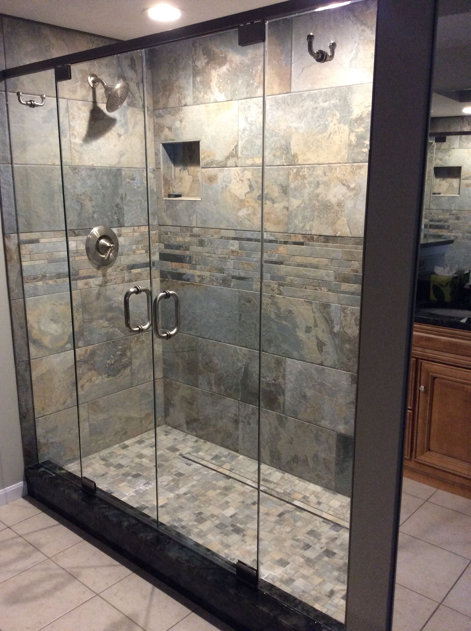 Frameless Glass French Shower Doors. The Header Adds Stability Without  Blocking The View With Glass