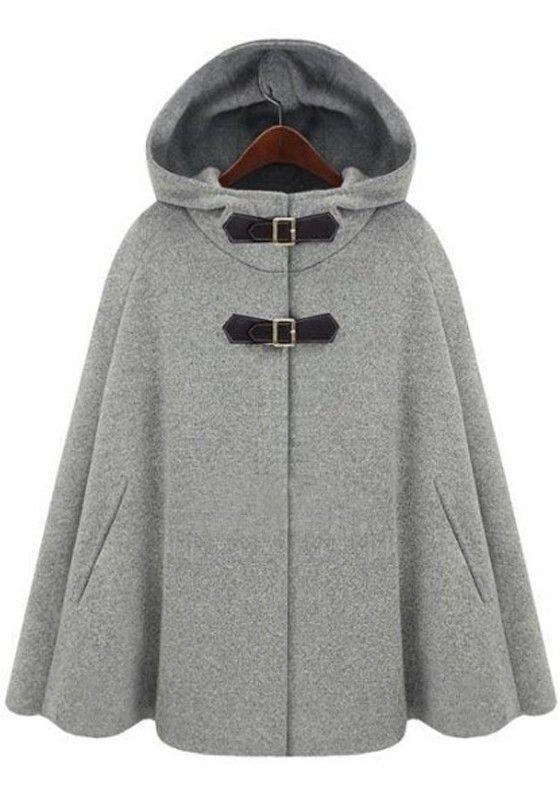 Mantel Cashmere Buckle Wool Hooded Grey Pu CoatPoncho Two 3AjL45R