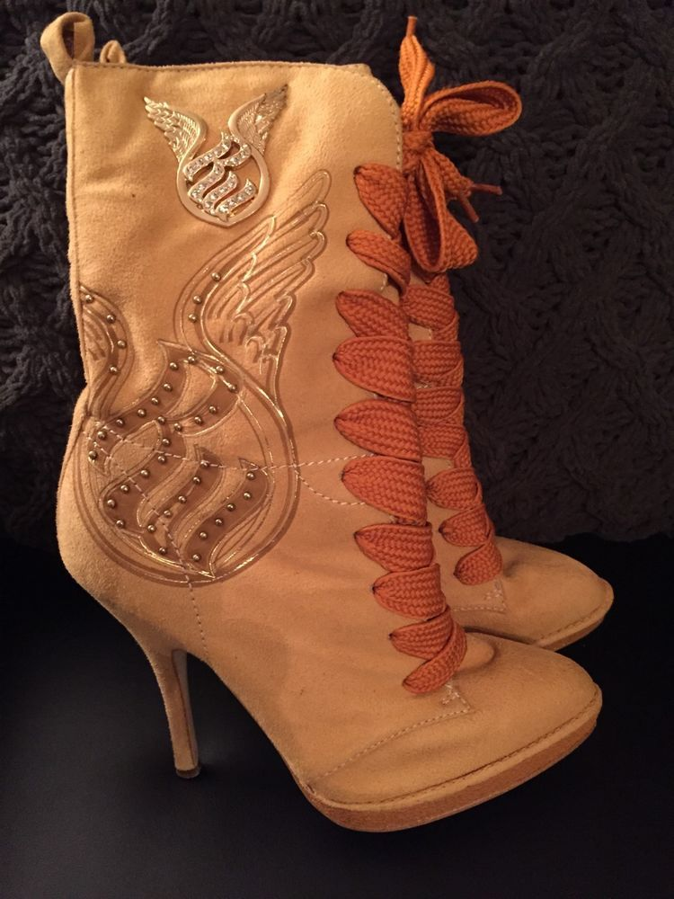 High Heels Construction Boots Style W/ Gold Accents Rocawear Size 6 in Clothing, Shoes & Accessories, Women's Shoes, Boots | eBay